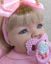 Boneca Reborn Loira Bebê Realista 14 Itens Pronta Entrega Menina - Carinha de anjo
