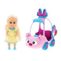Boneca Sparkle Girlz Loira  Carro Mini Sparkles Porquinho - DTC -