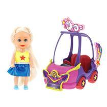 Boneca Sparkle Girlz Loira  Carro Mini Sparkles Roxo - DTC -