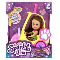 Boneca Sparkle Girlz Morena  Carro Mini Sparkles Gatinho - DTC -