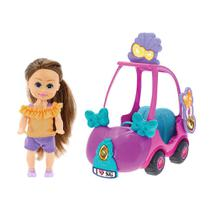 Boneca Sparkle Girlz Morena  Carro Mini Sparkles Rosa - DTC -