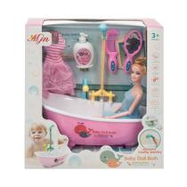 Boneca Tipo Barbie Com Banheira Elétrica Acessórios De Banho Cor:Rosa - Barrettomegastore