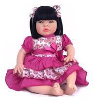 Boneca Tipo Bebe Reborn Menina Morena Baby Kiss - Sid Nyl