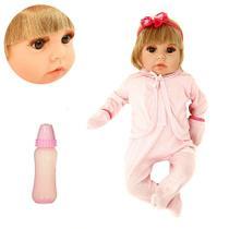 Boneca Tipo Bebê Reborn Realista Isadora Loira com 16 Itens - Outras Marcas