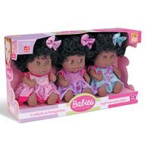 Bonecas Negras Bebês Trigêmeas Com 3 Expressões Diferentes - Beetoys