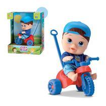 Boneco Bebê Coleção Little DOLLS Playground Triciclo Menino BABY Brinquedo Infantil Velotrol Passeio - Divertoys