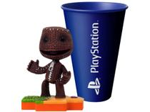 Boneco Colecionável Little Big Planet Sack Boy - 10,5cm Totaku + Copo PlayStation Azul