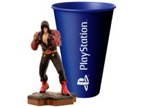 Boneco Colecionável Tekken Jim Kazama 10,5cm - Totaku + Copo PlayStation Azul
