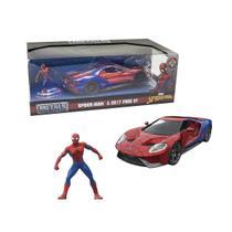 Boneco De Brinquedo Homem Aranha DTC E Carrinho Ford GT Miniatura -