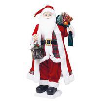 Boneco de Papai Noel Musical com Lanterna Vermelho e Branco de 70cm - Cromus