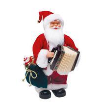 Boneco de Papai Noel Musical Xadrez com Sanfona Vermelho e Branco 3 Pilas AA de 32cm - Natal