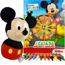 Boneco de Pelúcia + Livro para Colorir + 12 Gizes de Cera Mickey Disney - Dtc/Dcl