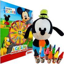 Boneco de Pelúcia Pateta + Livro para Colorir com 12 Gizes de Cera Mickey Disney - Dtc/Dcl