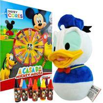 Boneco de Pelúcia Pato Donald + Livro para Colorir com 12 Gizes de Cera Mickey Disney - Dtc/Dcl