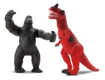 Boneco Dinossauro T-Rex Com Som Vs Gorila King Kong Macaco - Beetoys