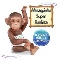 Boneco Macaco Little Caco C/ Fralda Mamadeira E Banana - Omg