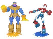 Boneco Marvel Avengers Vingadores Bend e Flex - Iron Patriot Vs Thanos 2 Peças e Acessórios Hasbro