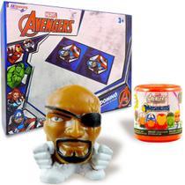 Boneco Mashems Nick Fury + Dominó Cartonado Vingadores Marvel - Dtc/Allseasons