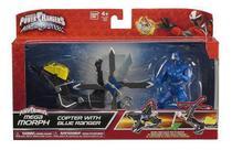 Boneco Power Rangers Blue Azul Ninja Steel + Moto - Bandai