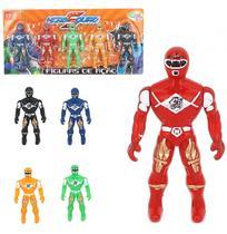 Boneco Ranger Hero Squad Figuras De Acao Kit Com 5 Pecas Colors Na Cartela Wellkids - Wellmix