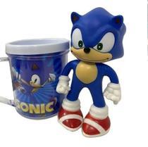 Boneco Sonic Azul Clássico Figure + Caneca Personalizada - Figure Collection -