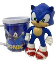 Boneco Sonic Azul Clássico Figure + Caneca Personalizada - Nintendo