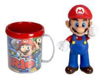 Boneco Super Mário + Caneca Personalizada Miniatura Jogo Colecionável - Yes