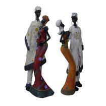 Bonecos Casal Africano Mini de Resina Enfeite Decorativa Decoracao (8033) - Braslu