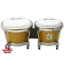 Bongô madeira natural 6 e 7 pol Tambores Percussão aro cromado Luen 45005 -