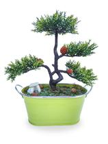 Bonsai Arranjo Flor Artificial Vaso Verde Cromado De Metal - Flordecorar