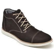 Bota Casual Masculina em Couro Cano Curto com Cadarço FK Shoes -