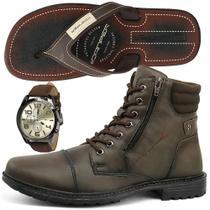 Bota Coturno Casual SapatoFran com Relógio e Chinelo Danper Masculino -