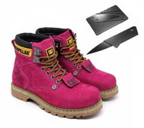 Bota Coturno CAT Rosa + Canivete Original - Caterpillar