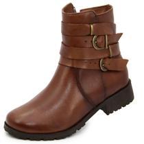 Bota coturno em couro feminina marrom rasteira - terra do sapato
