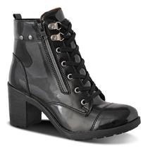 Bota Coturno Tratorada Feminina Prime Shoes em Verniz -