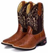 bece8379f0441 Bota Country Masculina Cano Longo Texana Rodeio Couro Tricê - Campero