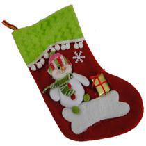 Bota de Natal Vermelho em Tecido com Boneco de Neve 1446 28cm de Altura CBRN0173 - Commerce brasil