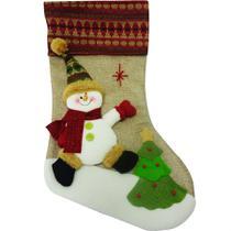 Bota natalina papai noel com boneco de neve 50cm - niazitex -