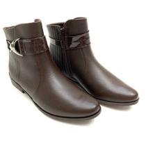 Bota ramarim  ankle boot napa detalhe fivela  feminina -