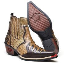 Bota Texana 3011 Escamada Masculina Country Botina Cowboy Bico Fino Couro Com Elástico e zíper - Fakcine