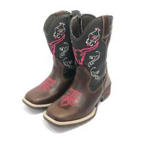 Bota Texana Country Infantil Texas Gold de Couro Cara de Boi -