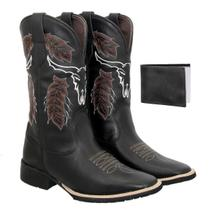 Bota texana Country Masculina Couro Ref: Cara de boi Cafe+ Carteira - Texas Gold