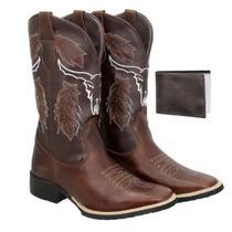 Bota texana Country Masculina Couro Ref: Cara de boi Cafe+ Carteira - Texas Gold