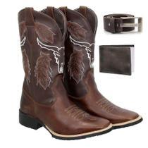 Bota Texana Country Masculina Couro Ref: Cara de boi + Carteira + Cinto - Texas Gold