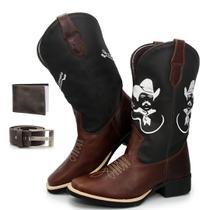 Bota Texana Country Masculina Texas Gold Tiao Carreiro de Couro + Carteira + Cinto -