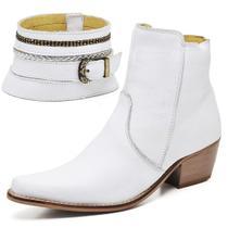 Bota Texana Country Su Fashion Store Couro Branco Cano Curto Bico Fino -