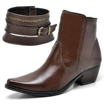 Bota Texana Country Su Fashion Store Couro Marrom Cano Curto Bico Fino -