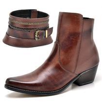 Bota Texana Country Su Fashion Store Couro Marrom Claro Cano Curto Bico Fino -
