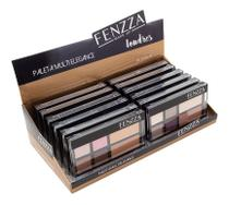 Box C/ 12Uni, Paleta Multi Elegance Fenzza, Nude, Sombra e Iluminador -