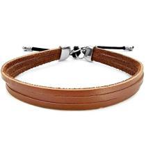 ef2345017 Bracelete De Couro Masculino Marrom - Gafeno acessórios